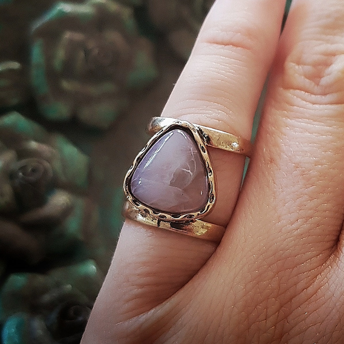 Pale purple and gold midi/pinkie ring-Rings-Chubby Precious Accessories