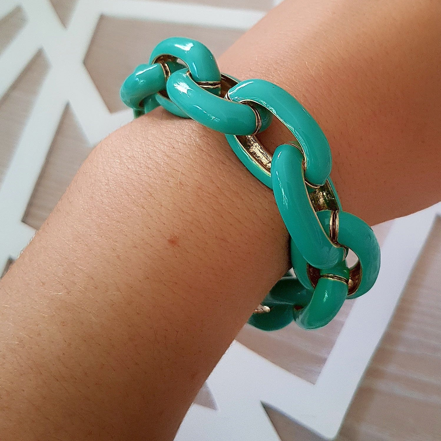 Gorgeous green large chain bracelet-Bracelets/bangles-Chubby Precious Accessories