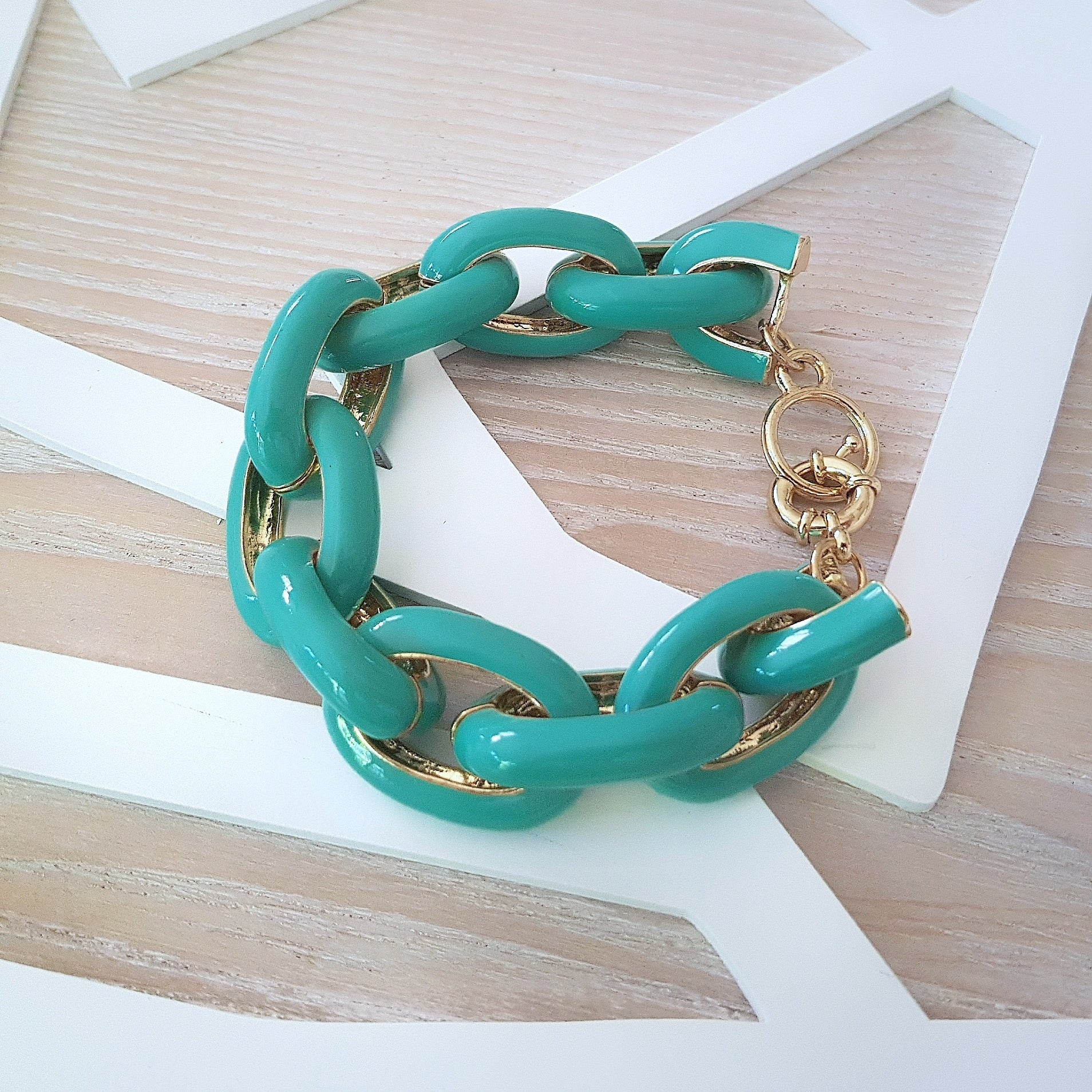 Gorgeous green large chain bracelet - Chubby Precious Accessories