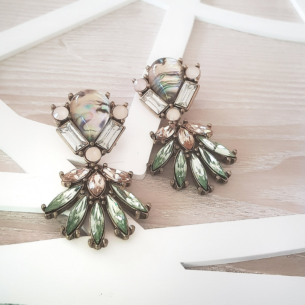 Pink and green geometric statement earrings - Chubby Precious Accessories