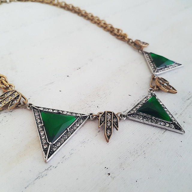 Emerald green romantic vintage triangle necklace-Necklaces-Chubby Precious Accessories