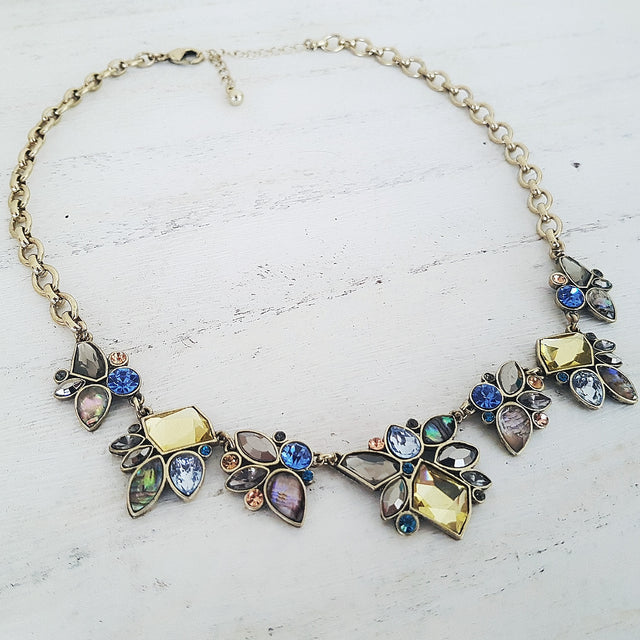 Geometric blue antique gold multi-coloured necklace-Necklaces-Chubby Precious Accessories