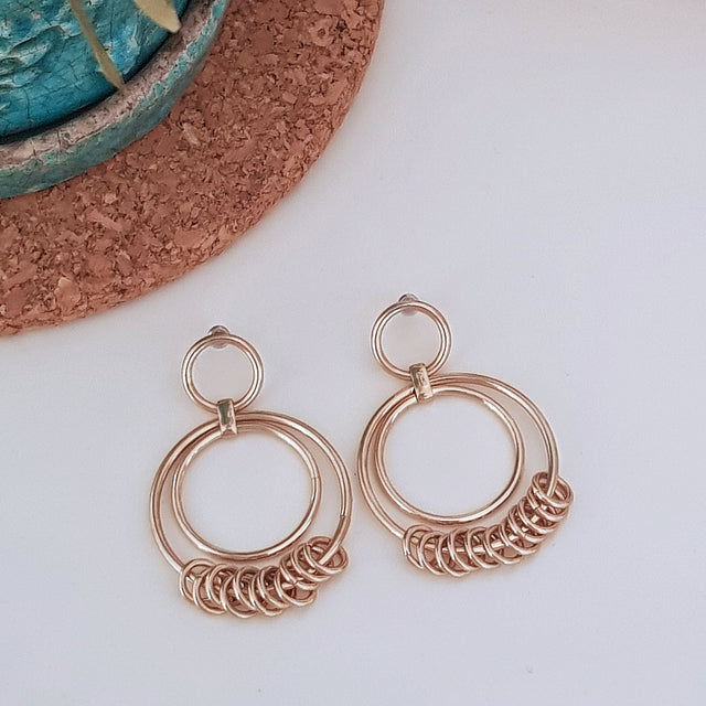Shiny gold circle drop earrings-Earrings-Chubby Precious Accessories