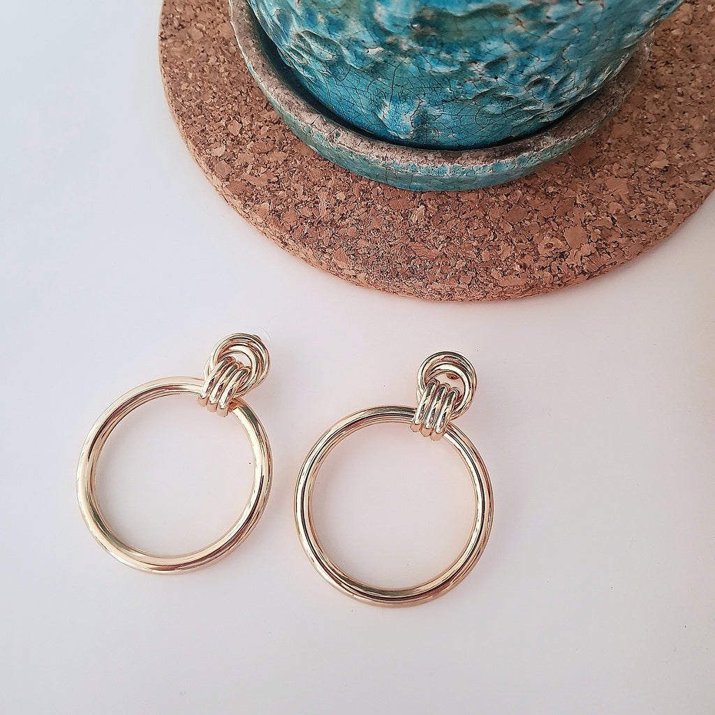 Simple gold knot dangle earrings-Earrings-Chubby Precious Accessories
