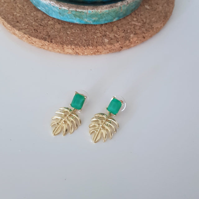 Little green hollowed gold leaf earrings-Earrings-Chubby Precious Accessories