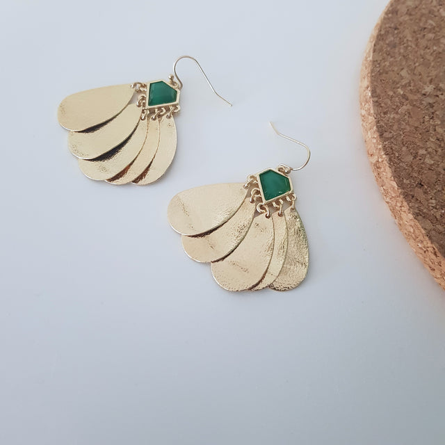 Gold and green tassel earrings-Earrings-Chubby Precious Accessories