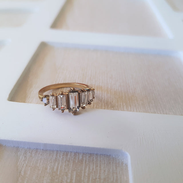 Geometric white crystal gold romantic ring-Rings-Chubby Precious Accessories