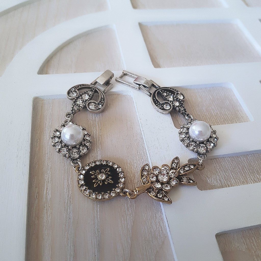 Romantic gold/silver black and white charm bracelet-Bracelets/bangles-Chubby Precious Accessories
