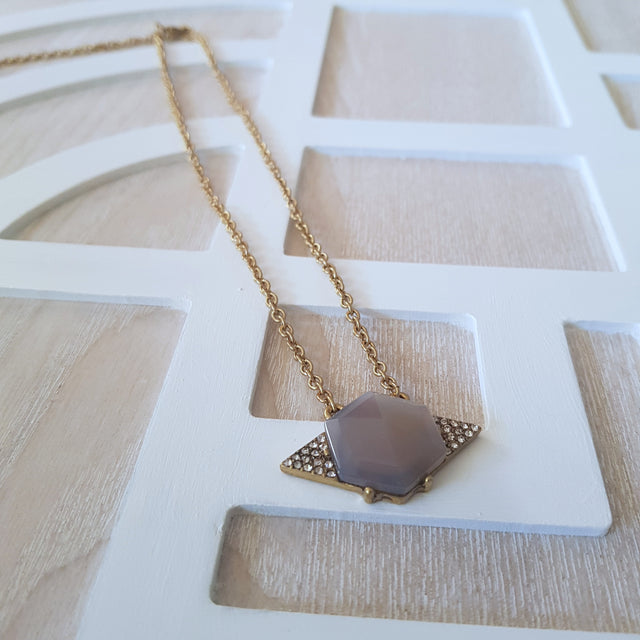 Dainty purple geometric gold necklace-Necklaces-Chubby Precious Accessories