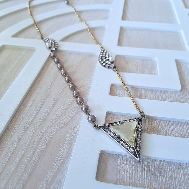 Delicate elegant grey pearl triangle pendant necklace-Necklaces-Chubby Precious Accessories