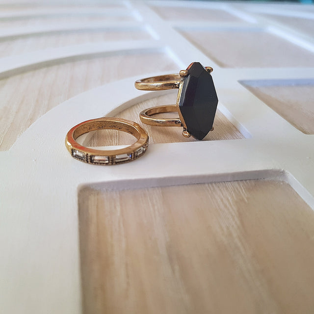 Black two piece cocktail ring set - Chubby Precious Accessories