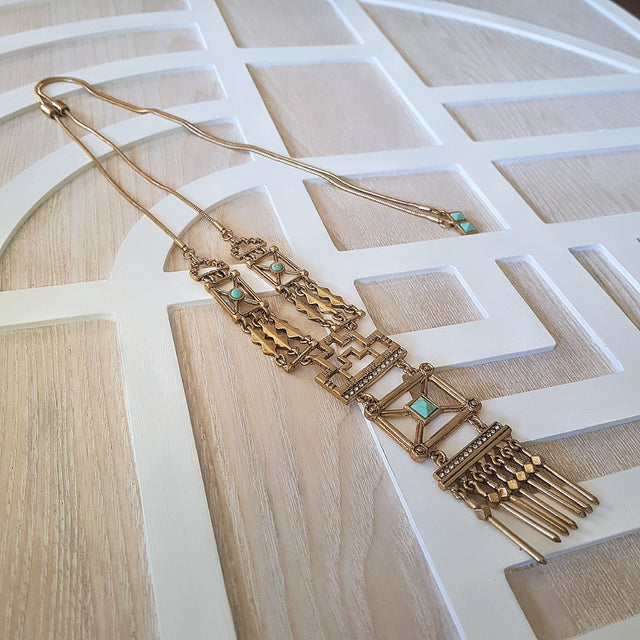 Geometric vintage hollowed gold long statement necklace-Necklaces-Chubby Precious Accessories