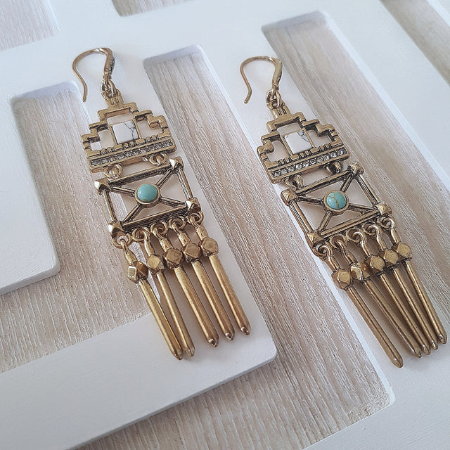 Geometric vintage hollowed gold tassel statement earrings-Earrings-Chubby Precious Accessories