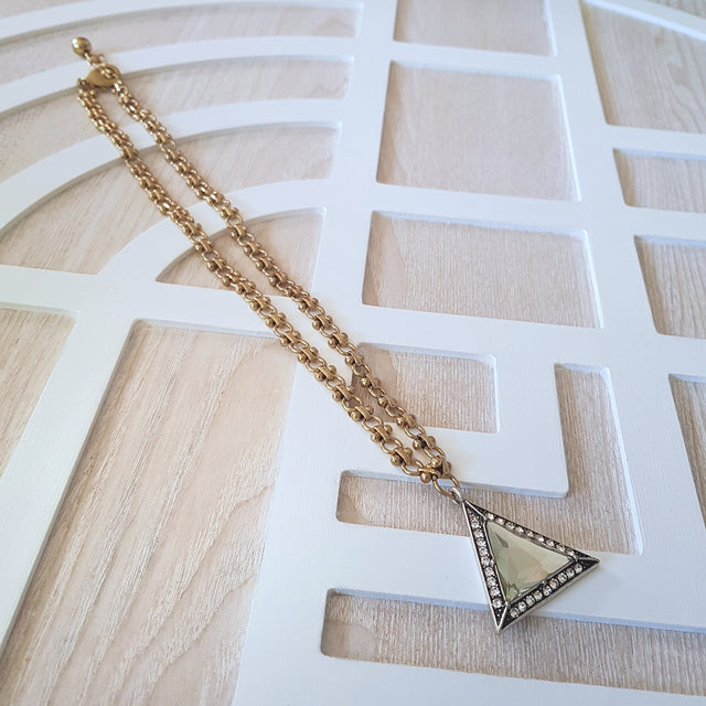 Glamour gold triangle statement necklace-Necklaces-Chubby Precious Accessories