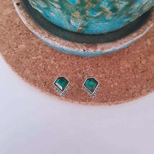 Emerald green geometric stud earrings-Earrings-Chubby Precious Accessories