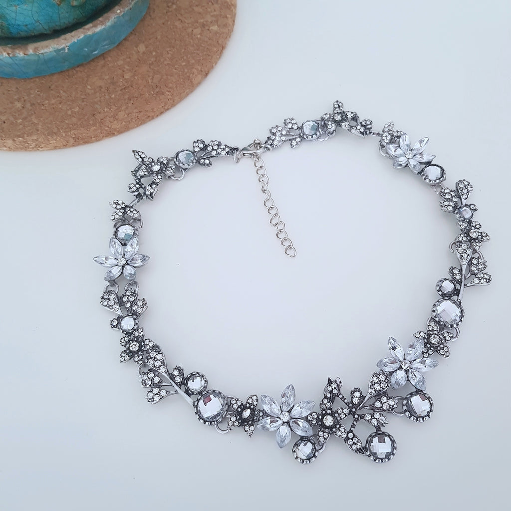 Bridal flower choker silver crystal necklace - Chubby Precious Accessories