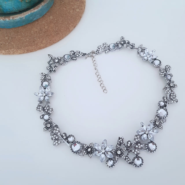 Bridal flower choker silver crystal necklace-Necklaces-Chubby Precious Accessories