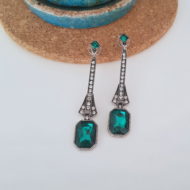 Romantic emerald green Gatsby-style long drop earrings-Earrings-Chubby Precious Accessories