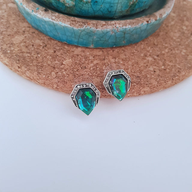 Green blue geometric stud earrings - Chubby Precious Accessories