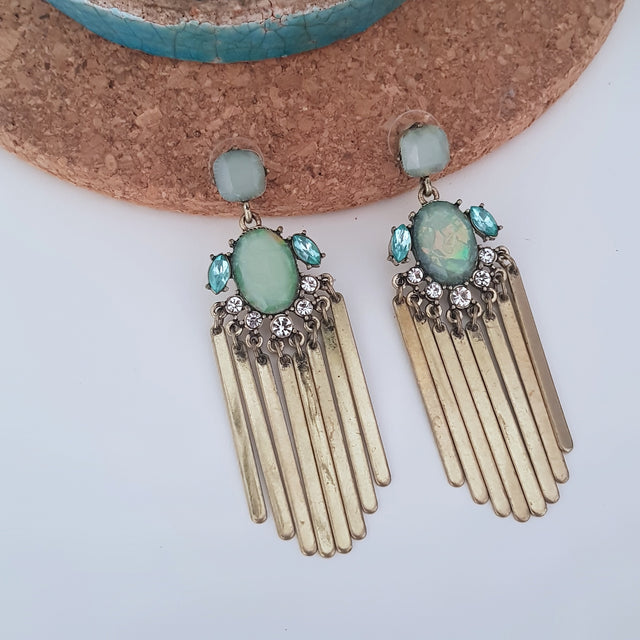 Green gold metal tassels statement earrings-Earrings-Chubby Precious Accessories