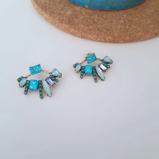 Retro blue detachable crystal stud earrings-Earrings-Chubby Precious Accessories