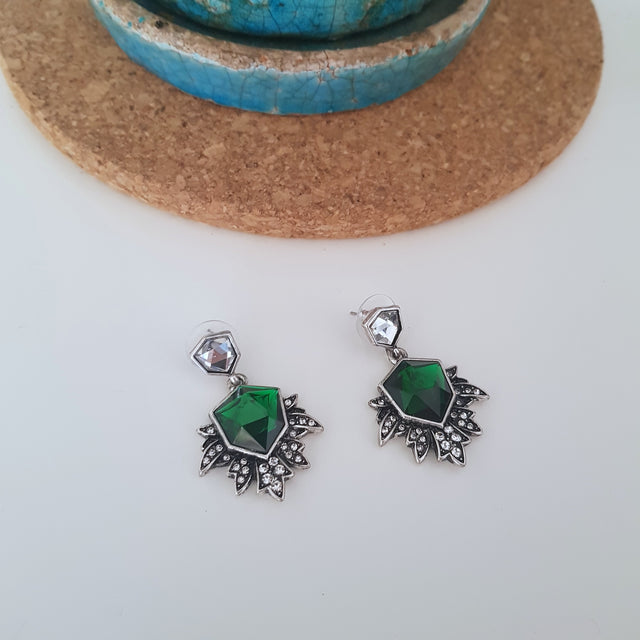 Emerald green silver romantic occasion earrings-Earrings-Chubby Precious Accessories