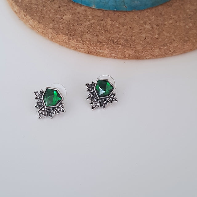 Green and white crystal silver wings earrings-Earrings-Chubby Precious Accessories
