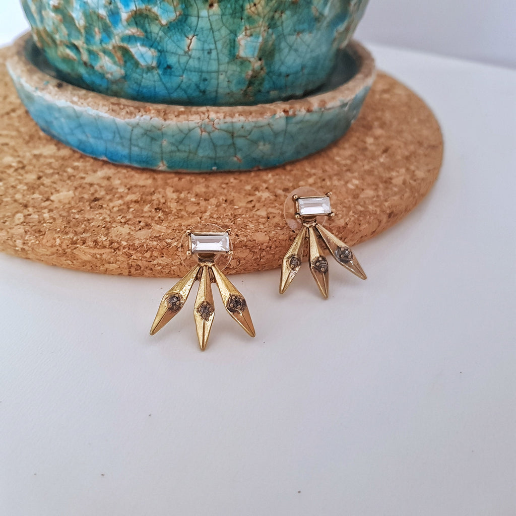 Punk spikey vintage gold detachable stud earrings-Earrings-Chubby Precious Accessories