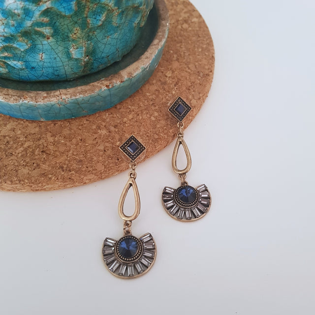 Blue fan shaped antique gold dangle earrings-Earrings-Chubby Precious Accessories