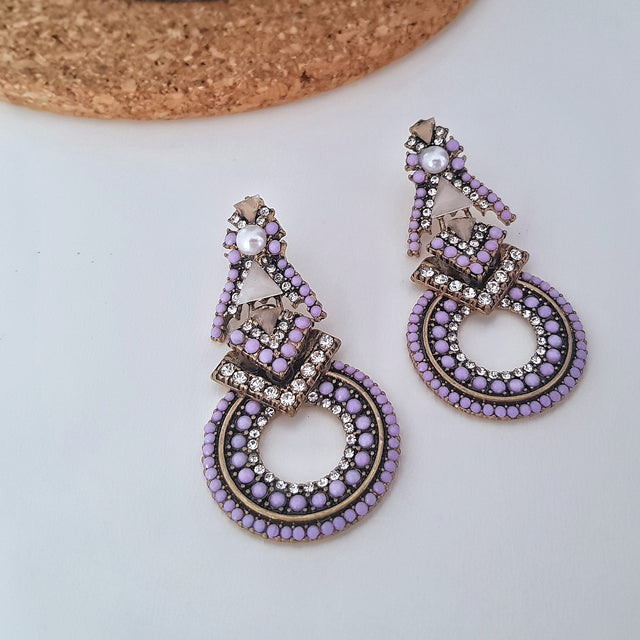 Purple inlay beads geometric statement earrings-Earrings-Chubby Precious Accessories