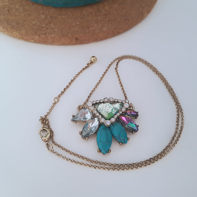 Blue and multi crystal gold necklace-Necklaces-Chubby Precious Accessories