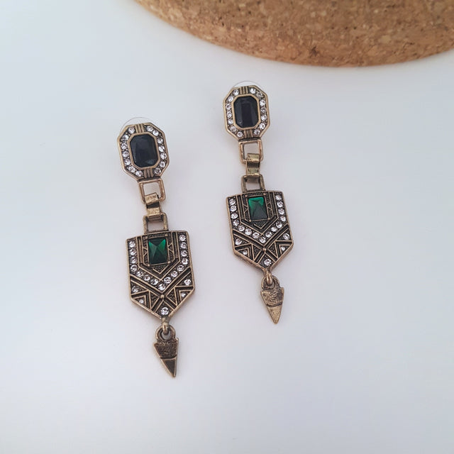 Vintage art-deco antique gold and green dangle earrings-Earrings-Chubby Precious Accessories