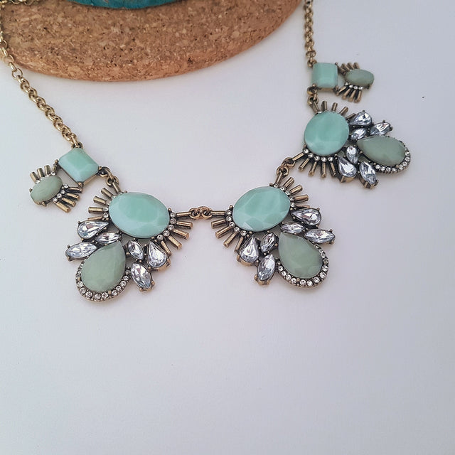 Pale blue and green pendant festival necklace - Chubby Precious Accessories