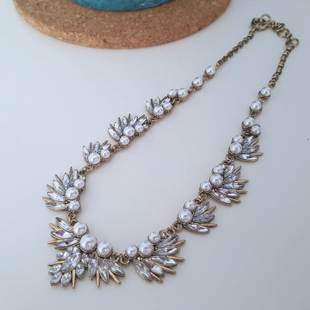 Pearl flower romantic gold statement necklace-Necklaces-Chubby Precious Accessories