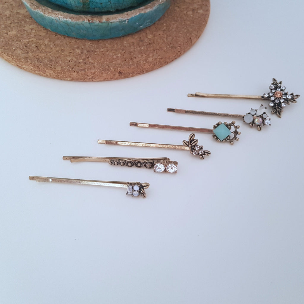 Gold charm 6 piece hair pins-Hair accessories-Chubby Precious Accessories