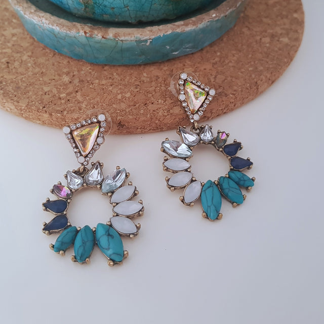 Chunky blue magic statement earrings-Earrings-Chubby Precious Accessories