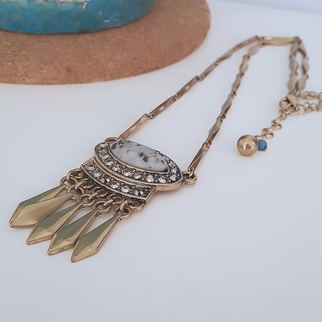 Marbled grey festival tassel gold necklace - Chubby Precious Accessories