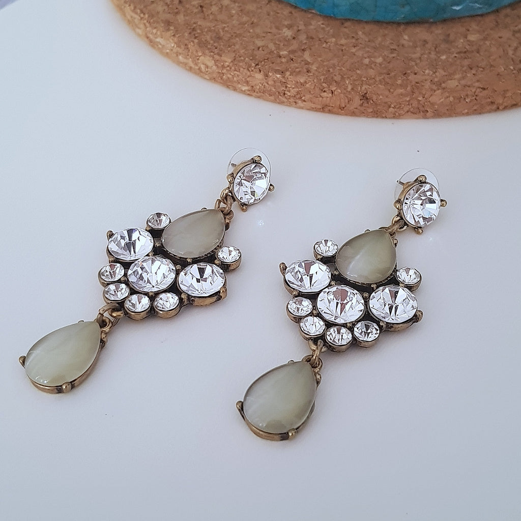White and grey crystal chunky cocktail earrings-Earrings-Chubby Precious Accessories