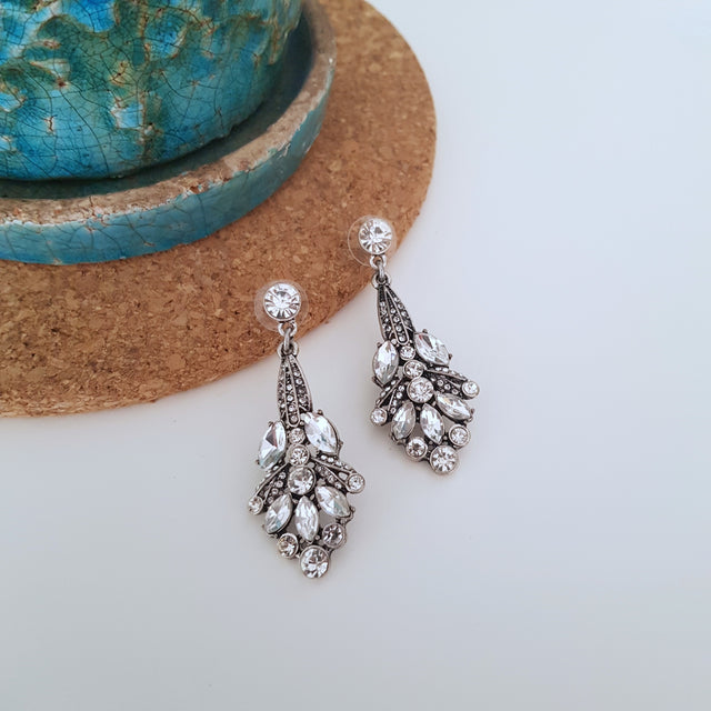Silver white crystal long drop earrings-Earrings-Chubby Precious Accessories