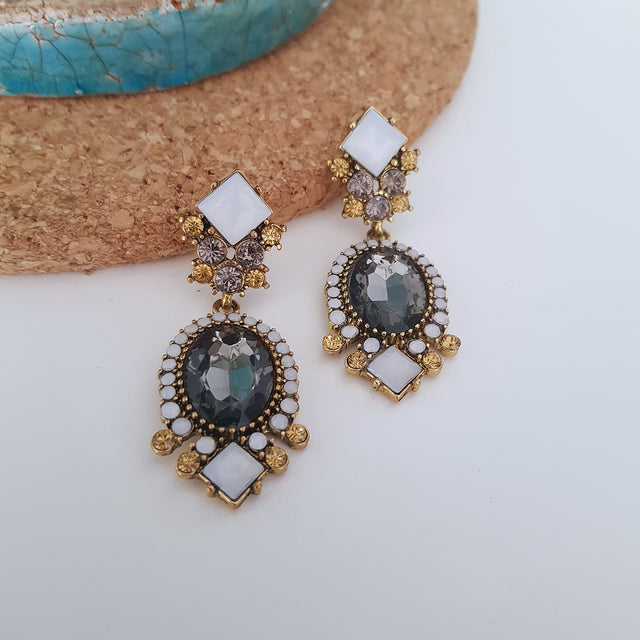 Black and white crystal cocktail dangle earrings-Earrings-Chubby Precious Accessories