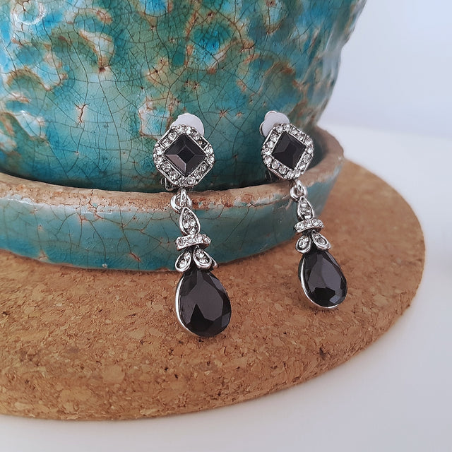Black romantic silver clip-on dangle earrings-Earrings-Chubby Precious Accessories
