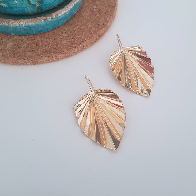 Big gold leaf hook earrings-Earrings-Chubby Precious Accessories