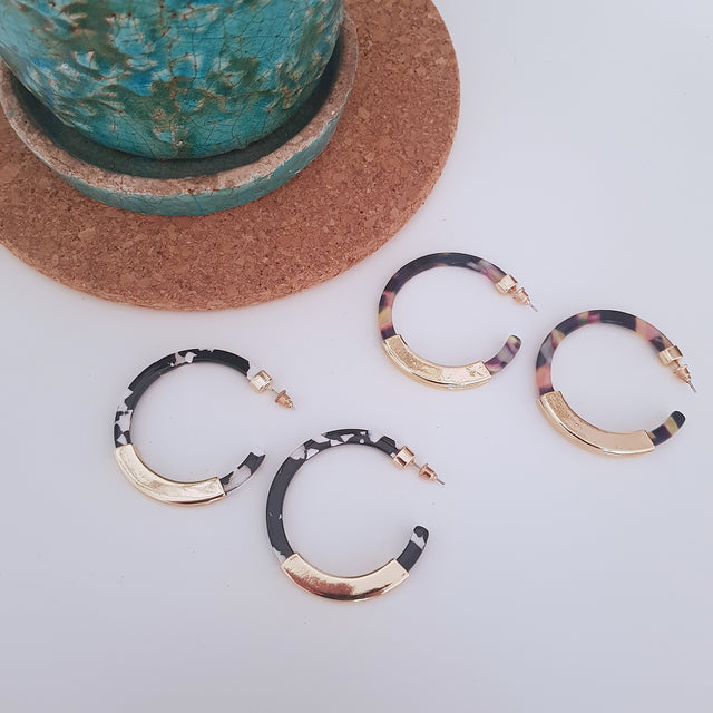 Tortoiseshell gold tip hoops-Earrings-Chubby Precious Accessories
