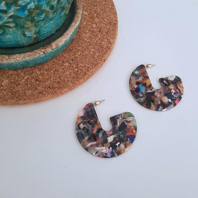 Tortoiseshell multi pink round earrings-Earrings-Chubby Precious Accessories