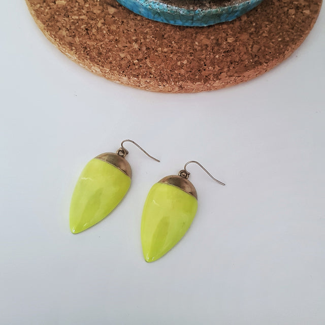 Big neon yellow drop earrings-Earrings-Chubby Precious Accessories