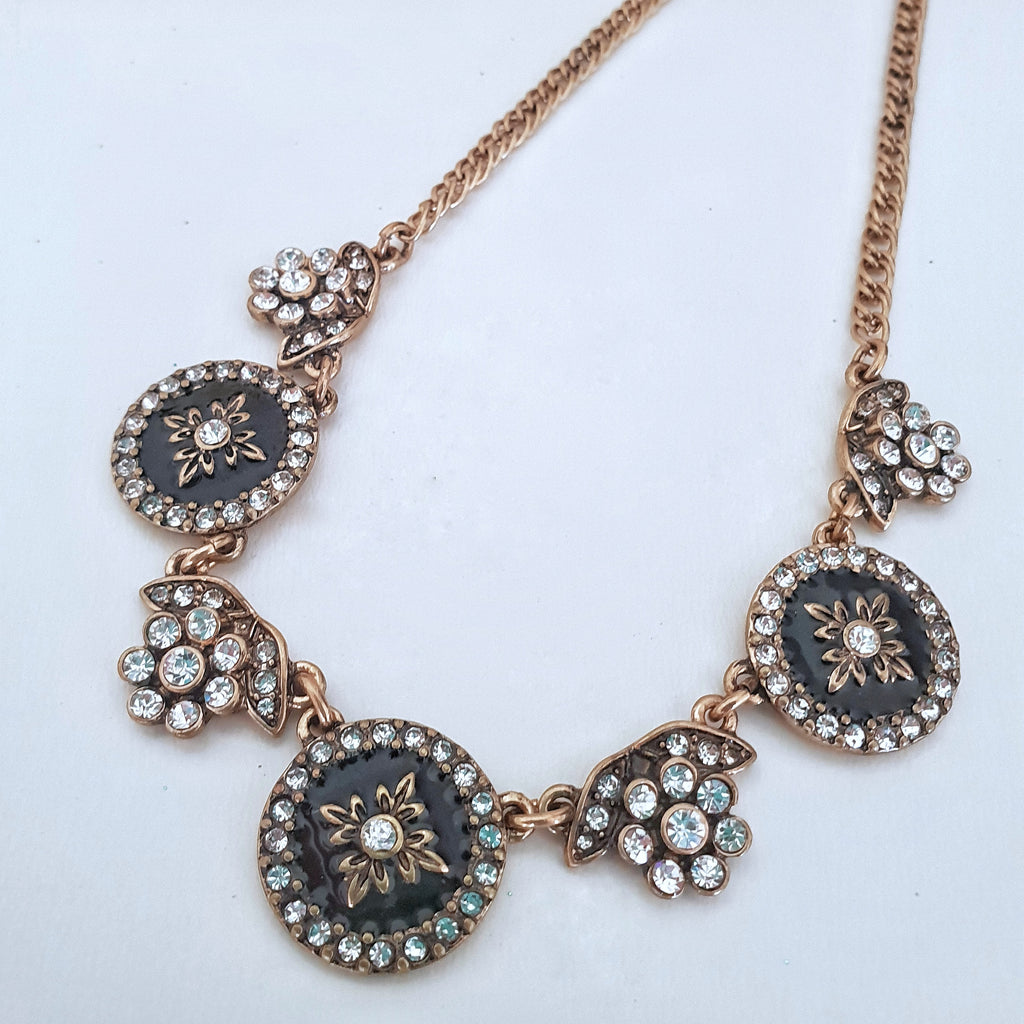 Black with white crystal flower gold chain necklace - Chubby Precious Accessories
