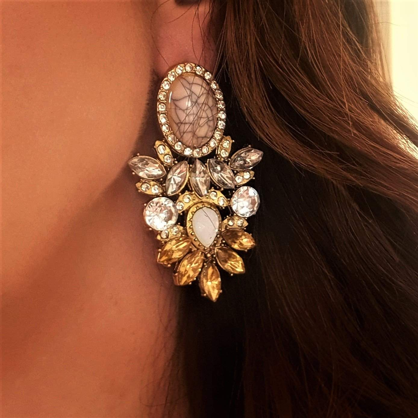Dramatic statement yellow or champagne crystal earrings-Earrings-Chubby Precious Accessories