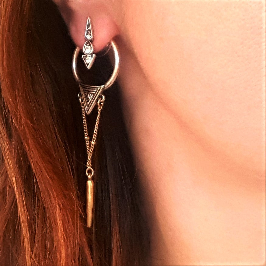 Festival gold and silver detachable dangle earrings-Earrings-Chubby Precious Accessories