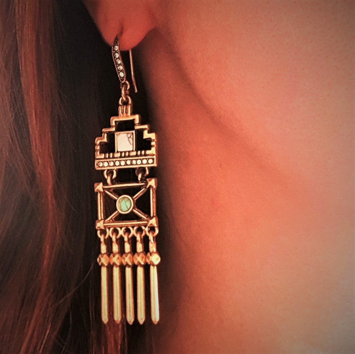 Geometric vintage hollowed gold tassel statement earrings - Chubby Precious Accessories
