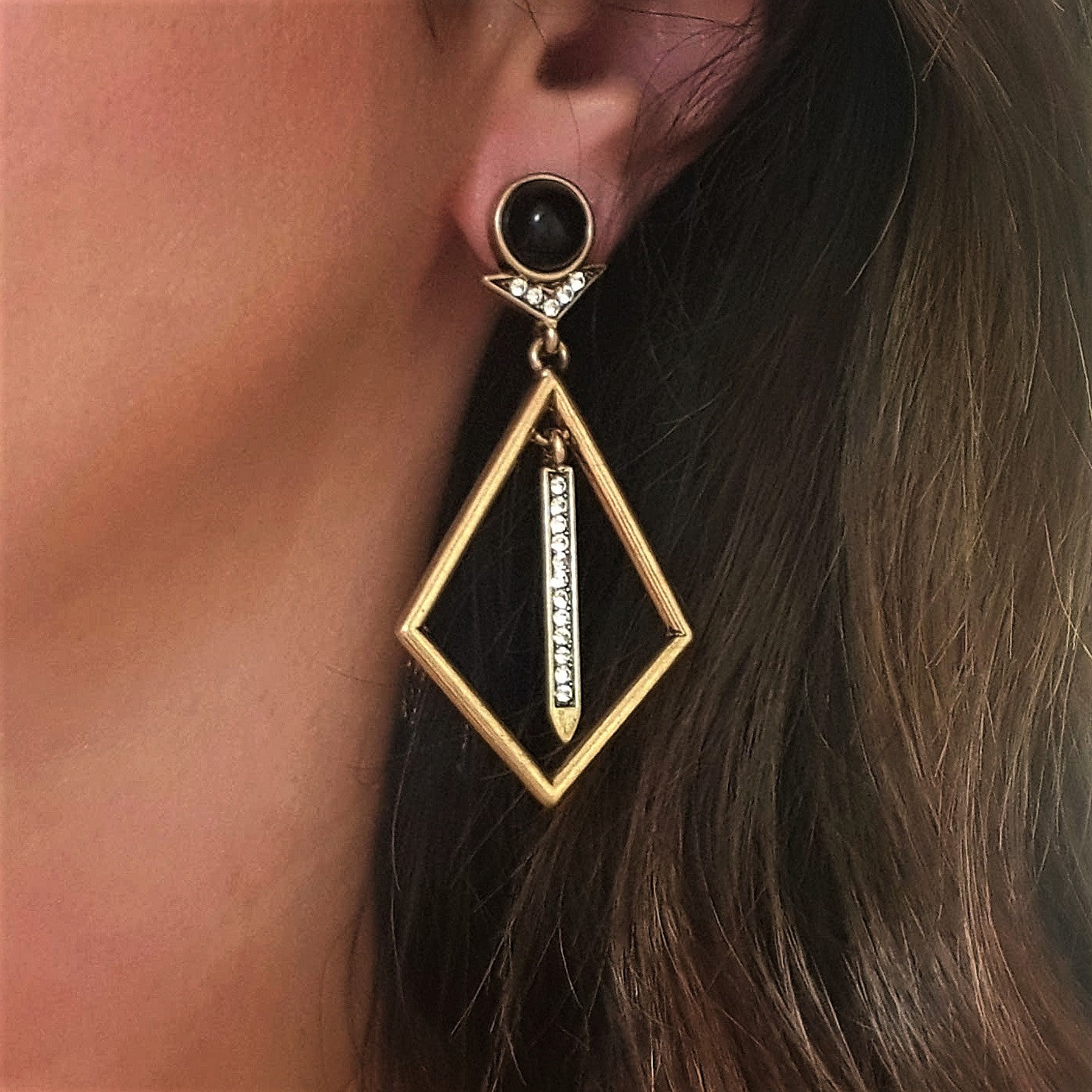 Gold diamond shaped drop cocktail earrings - Chubby Precious Accessories